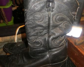 Ariat distressed  Cowboy Boots / black leather  / Men's sz 11 / Women's sz 12.5