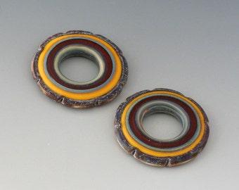 Rustic Ruffle Discs - (2) Handmade Lampwork Beads - Red, Yellow