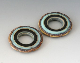 Rustic Ruffle Discs - (2) Handmade Lampwork Beads - Mint, Black