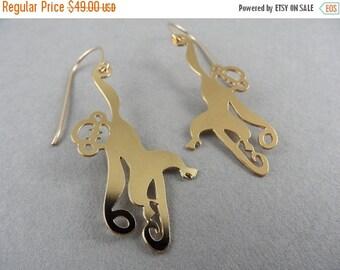 40% OFF hanging monkey earrings, golden monkey earrings, monkey earrings, animal earrings