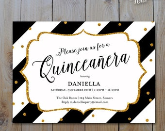 Quinceanera Invitations / Black and Gold Glitter / 15th Birthday / PRINTABLE INVITATION / 15303