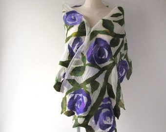Nuno felted scarf, Green white felt scarf,  woodland scarf , Floral Women shawl purple Rose  scarf  Summer scarf