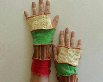 Fingerless Gloves in Yellow Green Orange Armwarmers Mitts