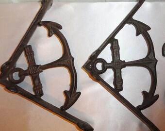 Nautical, Shelve Brackets, Cast Iron, Anchor, vintage inspired bronze finish, set of 2