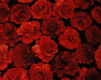 Fabric by the yard Red Valentine Roses Cottage Roses, Cabbage Roses, Quilting Supplies, Sewing Supplies, Shabby Chic Fabric, Cotton Fabric,