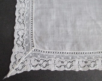Linen Hankie French Valenciennes Lace Edge Bridal Wedding