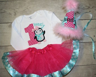 Penguin Winter Wonderland Birthday Shirt and Hat and Ribbon Tutu- ALL Birthday Numbers are Available-Hot Pink and Aqua- Cake Smash Outfit