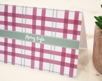 Personalized Stationery Plaid Set of 12 Cards - Personalized Stationary Notecards, Custom Thank You Notes Tartan