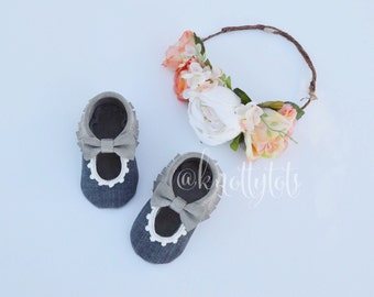 Custom Baby Moccs Chambray and Suede Moccasins Mary Jane style Handmade