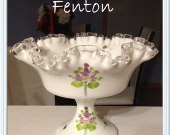 Fenton Milk Glass Footed Compote Bowl, Artist Signed, Gwen Moore, Violets in the Snow, Silvercrest, Crimped Petticoat, Crystal Edge, Vintage