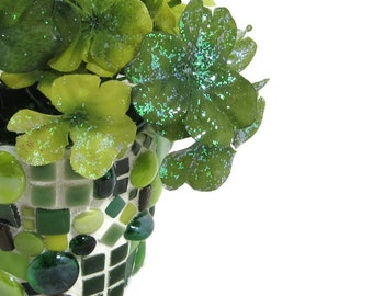 Silk clover in green mosaic pot by JillsJoy ... TAGT green mosaic pot perfect for desk, bookshelf, or table  green plant pot mosaic