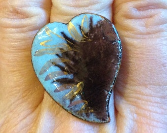 ENAMEL HEART RING, Upcycled Jewelry, Blue, Brown, & Gold; Adjustable Band, Repurposed, Under 10 Dollars