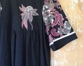 vintage. 70s Black Cotton Caftan Long Dress // Maxi Dress S to M