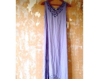 vintage. Deadstock Perwinkle Blue Tank  Dress // Long Maxi Dress // Free Size