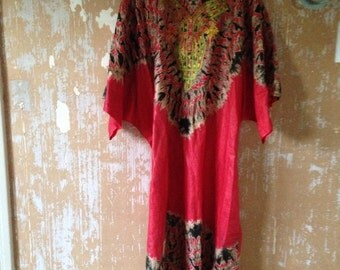 Vintage Moroccan Dress • 1970s Kaftan Dress • Free Size Dress • 70s Red Dress • Long Dress • 70s bohemian Dress • Caftan Dress