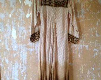 vintage. Rare Indian Gauze Cotton Ombre Dress   / Hippie Bohemian  / Free Size