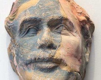 Ceramic Einstein mask wall hanging face sculpture texture portrait bust of a man