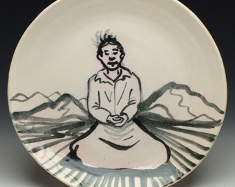 Ceramic Plate Buddha Painting Serving Meditation Dish, Black and White Art