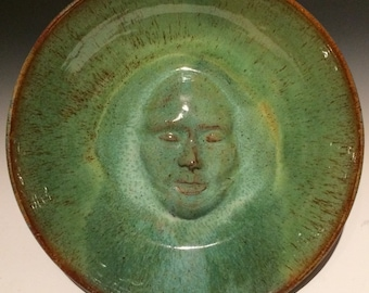 Bird bath face sculpture wall hanging platter portrait bas relief bowl figure art pottery serving plate