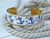 Women's Nautical Cuff Bracelet - Navy & Gold Anchors