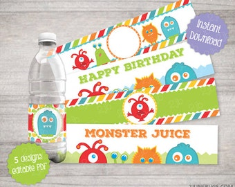 Party printables DIY Party Favors Little Monster Birthday Party Water Bottle Labels EDITABLE 4 Designs -2 june bugs