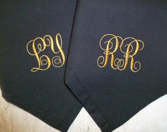 2 Men's Monogram BLACK Hankerchief Embroidered Personalized Wedding Handkerchief Mens Groom Bestman Groomsmen