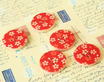 Set 6 RED Craft Ideas Flower Printed Wood round buttons