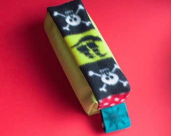 Leatherette pirate pencil case, acid green, pirates fantasy, school, gift for kids, beauty case, christmas gifts