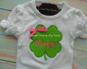 Girls St Patrick's Day Clover Shirt My first St Pattys Day
