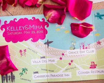 Custom Beach Wedding Map, Wedding Map Invitation, Desitnation Wedding --Turks and Caicos (5x7 tri-fold)