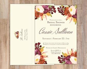 Rustic Vintage Flowers Shower Invitation - Set of 20 (with return address on back envelope flap)