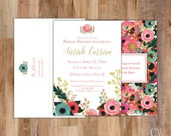 Floral Collection Gold Glitter Watercolor Shower Invitation - Set of 20 (with return address on back envelope flap)