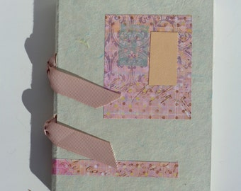 Heather and Celedon hand stitched sketchbook