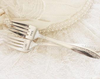 """Wedding Forks """"Mr. Mrs. forks"""". Hand Stamped  Mr. Mrs. Fork Set, Vintage Wedding Cake Forks Table Setting 1953 Starlight, Bridal Silverware"""