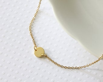 Gold Dot Necklace - Gold Disc Necklace - Simple Necklace - Dainty Necklace - Modern Necklace - Everyday Necklace - Minimalist Necklace