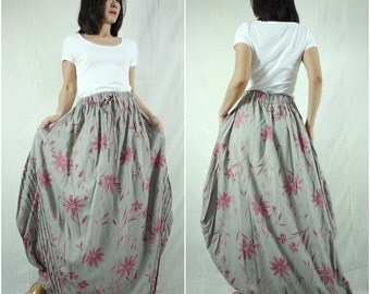Tulip Skirt - Floral Printed Dusty Olive green Taupe Tulip Shape Maxi Skirt With 2 Pockets