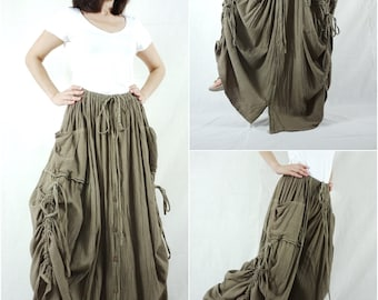 Love Me..Love Me Not III - Steampunk Dark Olive Green Cotton Convertible Skirt Or Pants Or Tubedress With 2 Roomy Pockets