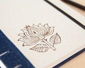 SALE Lotus Journal. Prayer Book. Notebook. Diary. Yoga Journal. Handprinted Lotus. Flower. Boho. A5 Journal