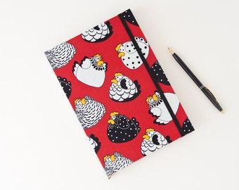 Gardening Journal. Chickens Notebook. Blank Journal. Handmade Diary. Fabric Journal.