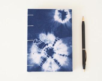 Small Blue Journal. Diary. Shibori Notebook. Coptic Binding. Eco Papers. Coptic Binding