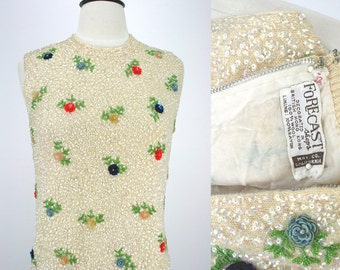 Vintage 60s Cocktail Sequined Top Dressy Dress Shell Forecast Shops May Co. California 3D Flowers Metal Zipper Chic 1960s Fashion Blouse