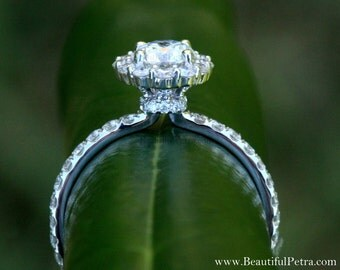 Diamond Engagement Ring  -14K white gold - 1.90 carat - Round - Flower Halo - Pave - Antique Style - Bph033