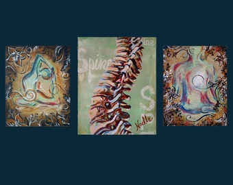 Chiropractic wall artwork trio wall artwork set of 3 prints for office spine showing flexibility and calming colors for reception area rooms