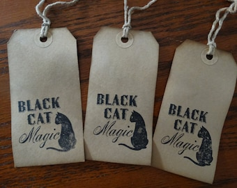SET of 3 Large Primitive Black Cat Magic Hang Tags