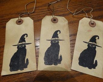 SET of 3 Large Primitive Black Cat Witch Hat Hang Tags