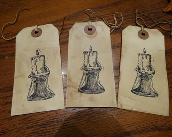 SET of 3 Large Primitive Candlestick & Cobwebs Hang Tags