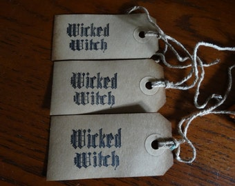 SET of 3 medium Primitive Halloween Wicked Witch Hang Tags