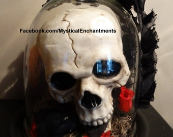 Extra Large Day of The Dead Glass Cloche with skull and roses