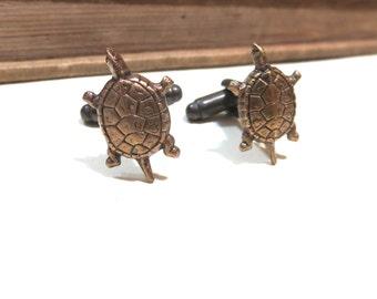 Antique Brass Sea Turtle Cufflinks - Green  - Antiqued Silver Cuff Links - Beach Wedding Ocean  Soldered antiqued