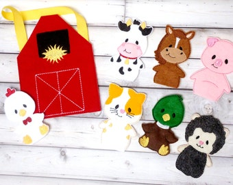 Farm Animal Finger Puppets with Barn Storage Bag